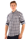 SHADE-45  Checkered   Cotton  White and Blue Slimfit Shirt for Men