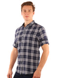 SHADE-45  Checkered Cotton Blue Slimfit Shirt for Men