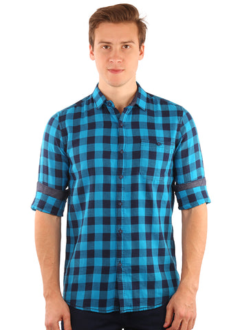 SHADE-45  Checkered   Cotton  Sky Blue and Blue Slimfit Shirt for Men