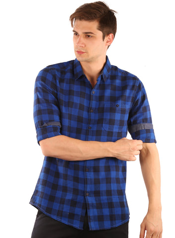 SHADE-45  Checkered   Cotton  Dark Blue and Blue Slimfit Shirt for Men