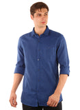 SHADE-45  Checkered Cotton Slimfit Blue Shirt for Men