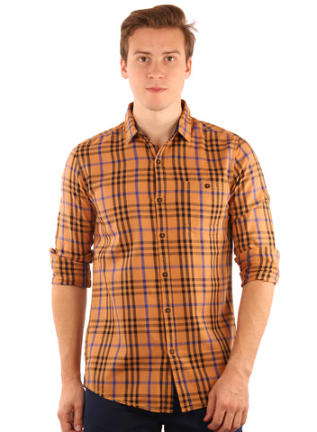 SHADE-45  Checkered Cotton mustard Shirt for Men