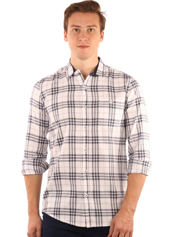 GoButtonsKart Checkered Cotton White Slimfit Shirt for Men