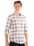 SHADE-45  Checkered  Cotton White Slimfit Shirt for Men