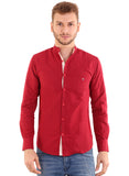 Rapphael Men's Casual Plain Red Chinese collar Slimfit Shirt