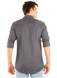 SHADE-45  Checkered Cotton Slimfit Grey Shirt for Men