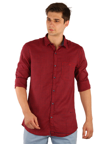 SHADE-45  Checkered Cotton Slimfit Red Shirt for Men