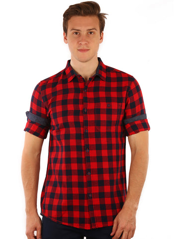 GoButtonsKart  Checkered   Cotton   Red and Black Slimfit Shirt for Men