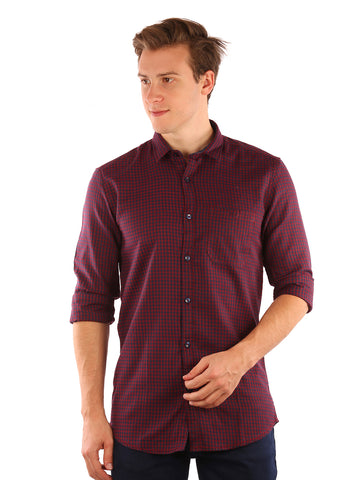 SHADE-45  Checkered Cotton Slimfit Purple Shirt for Men