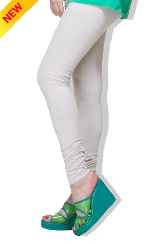 Half-White Colour Cotton Comfort-Stretch Plain Leggings