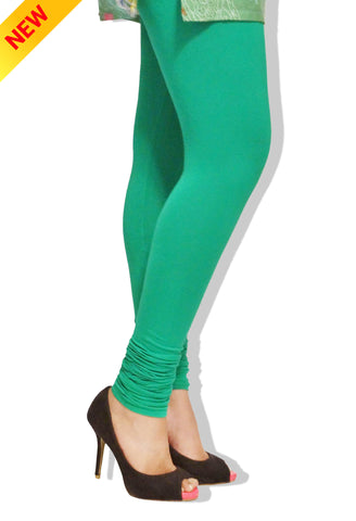 Light Green Colour Cotton Comfort-Stretch Plain Leggings