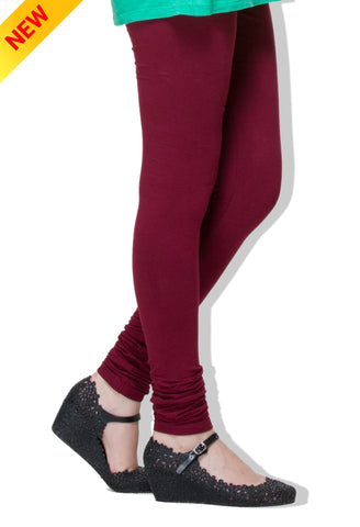 Maroon Colour Cotton Comfort-Stretch Plain Leggings