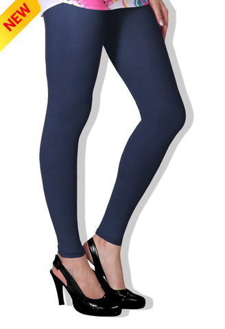 Navy Blue Colour Cotton Comfort-Stretch Plain Leggings