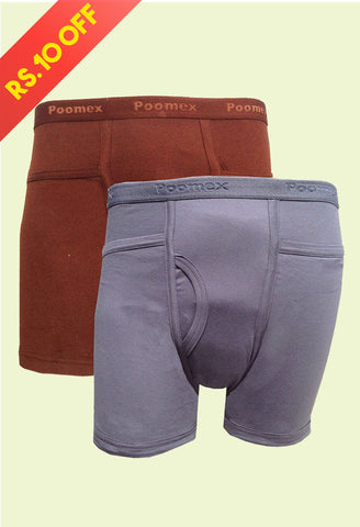 Poomex Men's Cotton Comfort Trunk (2s Pack)