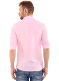 SHADE-45 Plain Pink Cotton Slimfit Shirt for Men