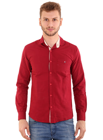 Rapphael Casual Plain Red Slimfit Shirt for men