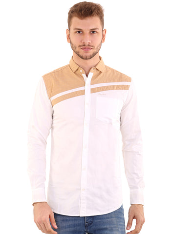 Rapphael Casual  Men's Stylish White Cotton Slimfit Shirt