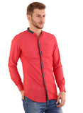 Rapphael Casual  Men's Red Cotton Slimfit  Shirt