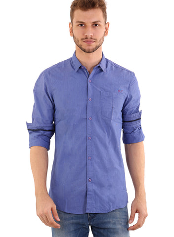 SHADE-45 Men's Cotton Plain Blue Shirt