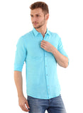 GoButtonsKart Plain Sky Blue Cotton Slimfit Shirt for Men