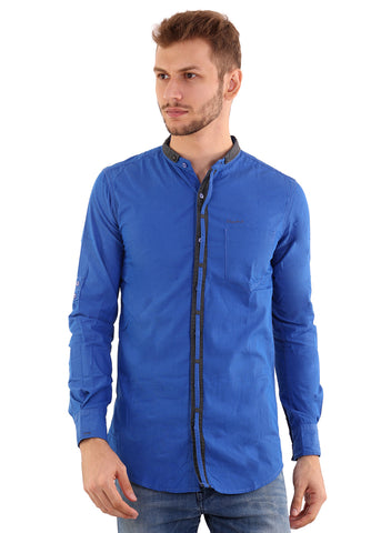 Rapphael Casual  Men's Blue Cotton Slimfit Shirt