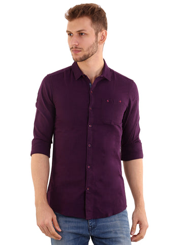 GoButtonsKart  Plain Purple Cotton Slimfit Shirt for Men