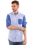 Black Taxi Cotton Plain Light Blue Slimfit  Shirt for Men