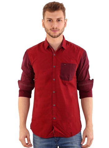 Black Taxi Cotton Plain Maroon Slimfit Shirt for Men