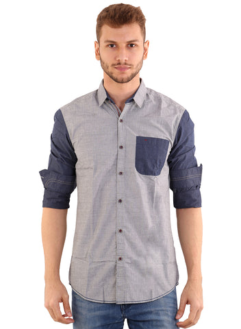 Black Taxi Cotton Plain Grey Slimfit Shirt for Men