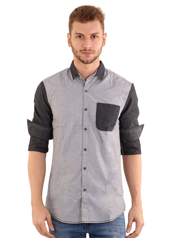 Black Taxi Cotton Plain Light Grey Slimfit Shirt for Men