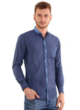 Rapphael Casual  Men's Chinese Collar Grey Plain Slimfit Shirt