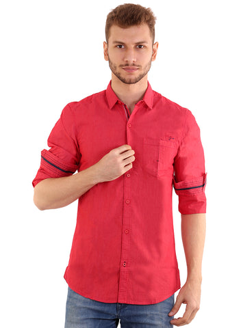 SHADE-45 Men's Cotton Plain Red Slimfit Shirt
