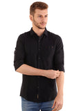 SHADE-45 Plain Black Cotton Slimfit Shirt for Men