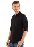 GoButtonsKart Plain Black Cotton Slimfit Shirt for Men