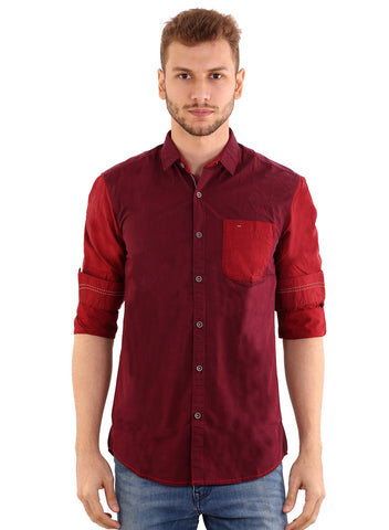 Black Taxi Cotton Plain Red Shirt for Men