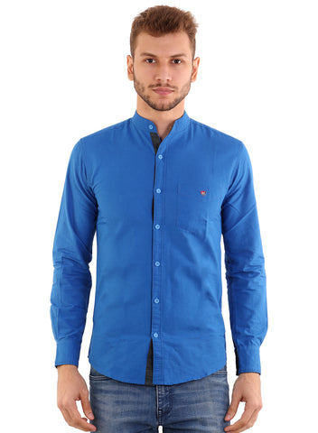 Rapphael Men's Casual Plain Royal Blue Chinese collar Slimfit Shirt