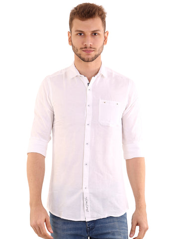 GoButtonsKart Plain White Cotton Slimfit Shirt for Men