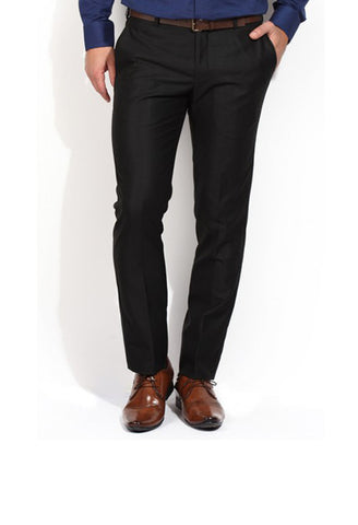 Indwins Men's Black Regular Fit Trouser