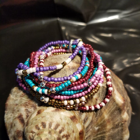 B22. Wild Bunch #1 - colorful stretchy wrist bling - Red Dirt Diva