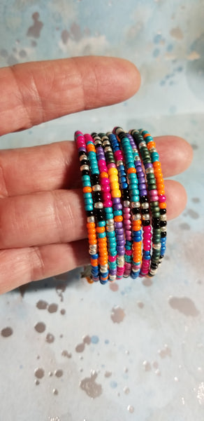 B30. Neon Boho wrap bracelet - ethnic jewelry - colorful bling