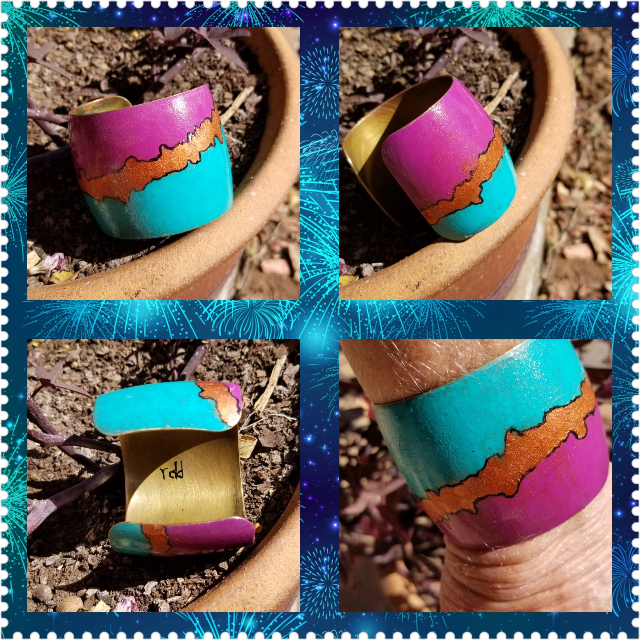 B36. Geometric Palette  - turquoise jewelry - purple jewelry - urban warrior cuff - everyday turquoise contemporary jewelry design