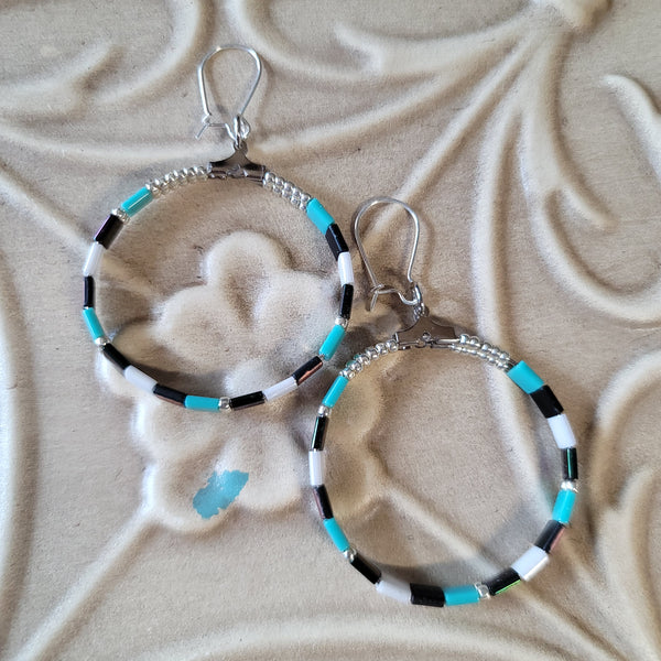 E101. OOAK Sunset Turquoise hoop earrings - boho chic earrings - everyday bling