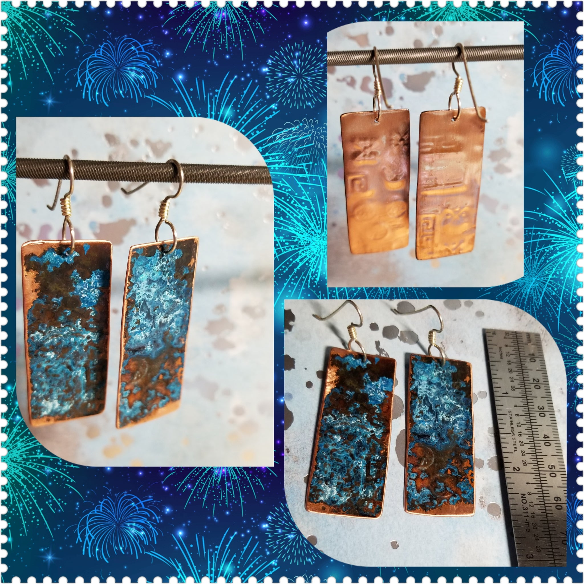E43. OOAK Copper Turquoise Blue Patina earrings  - rustic jewelry - patina jewelry - recycled copper - everyday turquoise contemporary jewelry design