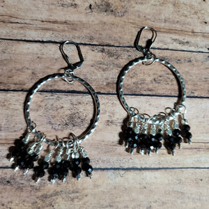 E90. OOAK Silver textured hoops - black statement earrings - urban bling earrings - cowgirl jewelry