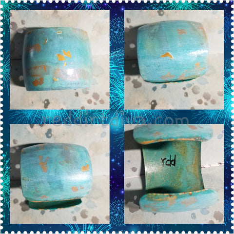 B33. Santa Fe Blues #1 - southwest rustic blue patina - urban warrior cuff - everyday turquoise contemporary jewelry design