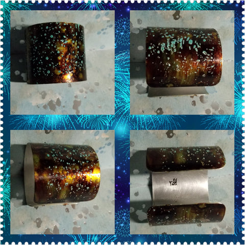 B42. Teakwood and Turquoise - hand painted - urban warrior cuff - everyday turquoise contemporary jewelry design