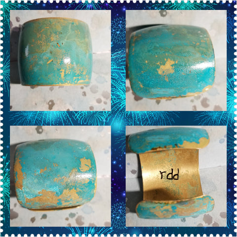 B34. Santa Fe Blues #2 - southwest rustic blue patina - urban warrior cuff - everyday turquoise contemporary jewelry design