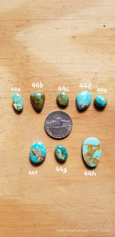 44C. small gemstone cabochons, Royston, Kingman, Lucky Peak, No. 8 mine, Escorpion, blue turquoise - Red Dirt Diva
