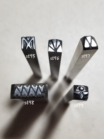 st15. Geometric handmade stamps for jewelry - great impressions on metal and leather