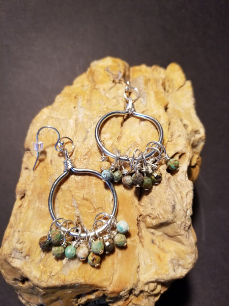 E3. Scout - silver and turquoise hoops - lightweight aluminum - nickle free